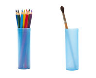 Color pencils and brush. Color pencils in the case and paintbrush in another one Royalty Free Stock Images