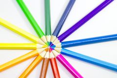 Color pencils. Bunch of colored pencils isolated on white background Stock Photography