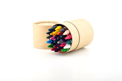 Color pencils in cardboard box. On a white background Royalty Free Stock Photos