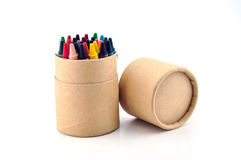Color pencils in cardboard box. On a white background Stock Images