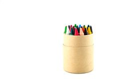 Color pencils in cardboard box. On a white background Stock Image