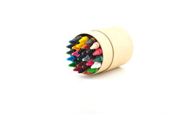 Color pencils in cardboard box. On a white background Royalty Free Stock Photography