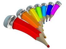 Color pencils. Cartoon 3D. Royalty Free Stock Photography