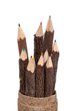 Color Pencils Carved From Wood Sticks Stock Photo