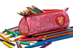 Color pencils in the case royalty free stock photos