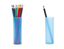 Color pencils. In the case and black pencil in another one Stock Images