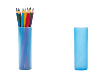 Color pencils. Case full of pencils and empty one Royalty Free Stock Photography