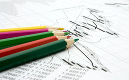 Color pencils and chart. Background Royalty Free Stock Photography