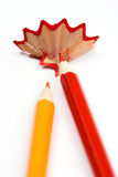 Color pencils and chips Royalty Free Stock Photo