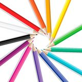 Color pencils in a circle Royalty Free Stock Image