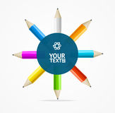 Color Pencils Circle Background. Vector Stock Image