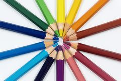 Color Pencils in Circle Close Up. Color pencils  on white arranged in circle. Close up Royalty Free Stock Images