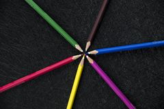 Color pencils circle stock image