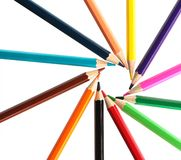 Color pencils circle isolated Stock Photography