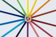 Color Pencils in Circle. Color pencils  on white arranged in circle Royalty Free Stock Photography