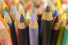 Color pencils, close up. Selective focus Royalty Free Stock Image