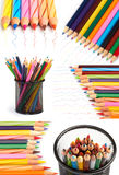Color pencils collage. With drawn lines Royalty Free Stock Image