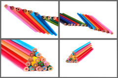Color pencils, collage Stock Photos