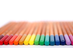 Color pencils collection. Multicolored pencils  on white background. Color pencils collection. Designer set tools. School drawing equipment Stock Image