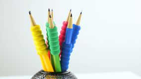 Color pencils. Rotate on the table stock video