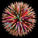 300 Color Pencils. Colored pencils arranged in sphere. Clipping path included Stock Image