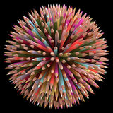 500 Color Pencils. Colored pencils arranged in sphere. Clipping path included Royalty Free Illustration