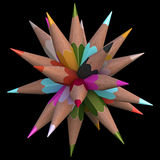 20 Color Pencils. Colored pencils arranged in sphere. Clipping path included Royalty Free Stock Photography