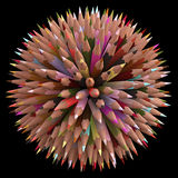 200 Color Pencils. Colored pencils arranged in sphere. Clipping path included royalty free illustration