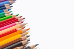 Color pencils on white background. Color pencils and copy space on white background Stock Images
