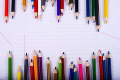 Color pencils creating a chaotic frame Royalty Free Stock Images