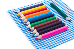 Color pencils for creativity on paper napkins stock photo