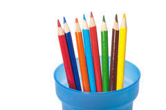 Color pencils in a cup. Royalty Free Stock Image