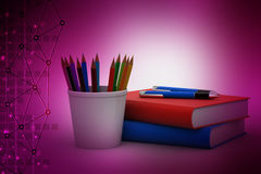 Color pencils in the cup with books Stock Image