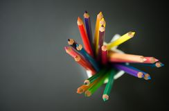 Color pencils in a cup Stock Images