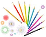 Color pencils with design elements. Illustration of color pencils with abstract design elements Stock Photo