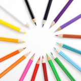 Color pencils with different color. Close up of color pencils with different color over white background stock images