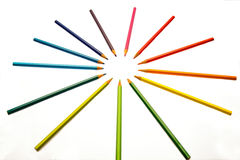 Color pencils of different colors. Making a color wheel on white background Stock Photography