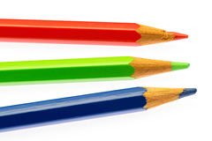 Color pencils of different colors. Makink a color wheel on white background Stock Photography