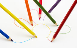 Color pencils. Draw the flower Royalty Free Stock Image