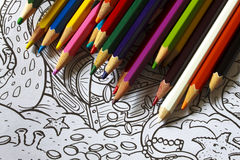 Color pencils drawings Royalty Free Stock Image