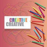 Color pencils with drawn lines and text on white paper Royalty Free Stock Photos