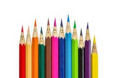 Color pencils and Face have many emotio Stock Photos