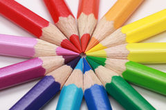 Color pencils forming a circle Stock Photo