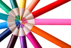 Color pencils forming a circle. Color pencils in a circle forming spokes of a color wheel Stock Photography