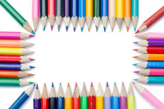 Color pencils forming a rectangle Royalty Free Stock Photo