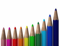 Color pencils forming an upward curve Royalty Free Stock Photo
