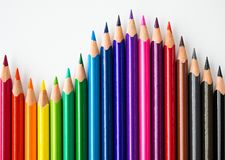 Color pencils forming a wave pattern. stock photo