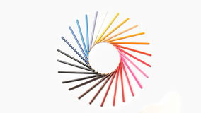 Color pencils forming a wonderful circle rotating stock footage