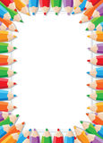 Color pencils frame. Illustration of a color pencils frame Royalty Free Stock Photography