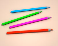 Color pencils. Front view, on cream background, created in 3d Studio Max Royalty Free Stock Photography